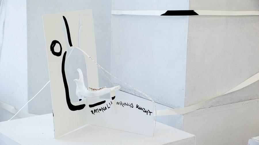 MS05 Rationalisierungskonzept und Präsentationszwang 28 × 22 × 30 cm Karton / Knochen / Papier / Tusche 2013