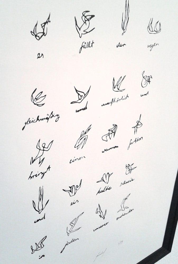 R16 Fällt der Regen 50 × 70 cm Linoldruck Auflage 15 2014