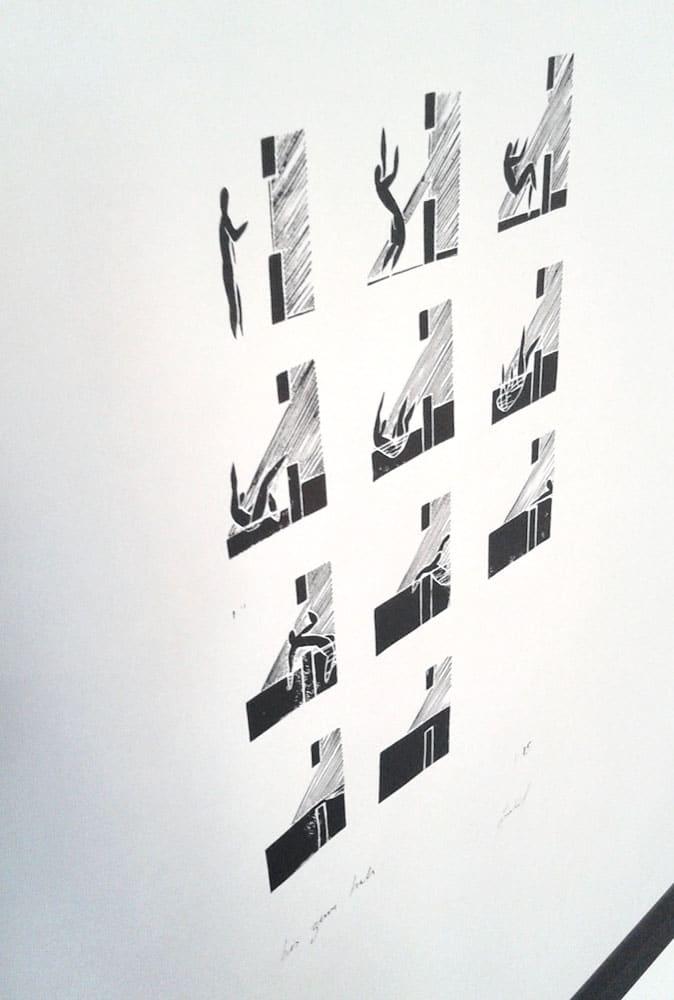 R15 Regen bis zum Hals 50 × 70 cm Linoldruck Auflage 15 2014