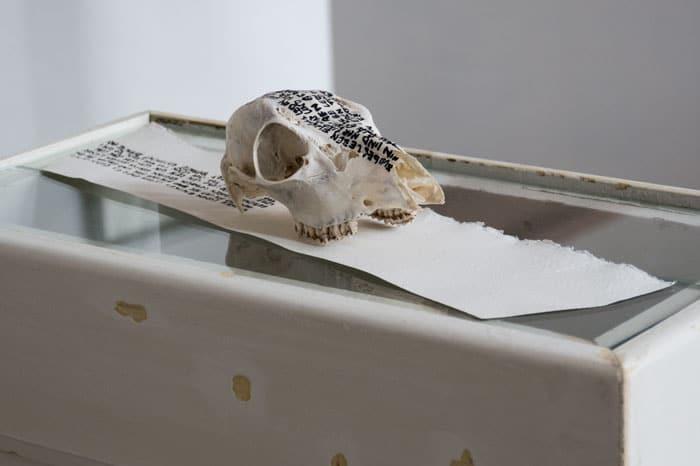 SiL16 Hin und Her ca. 40 × 15 × 10 cm Knochen / Papier / Tusche / Text 2013 4 Knochen – Stein – Papier