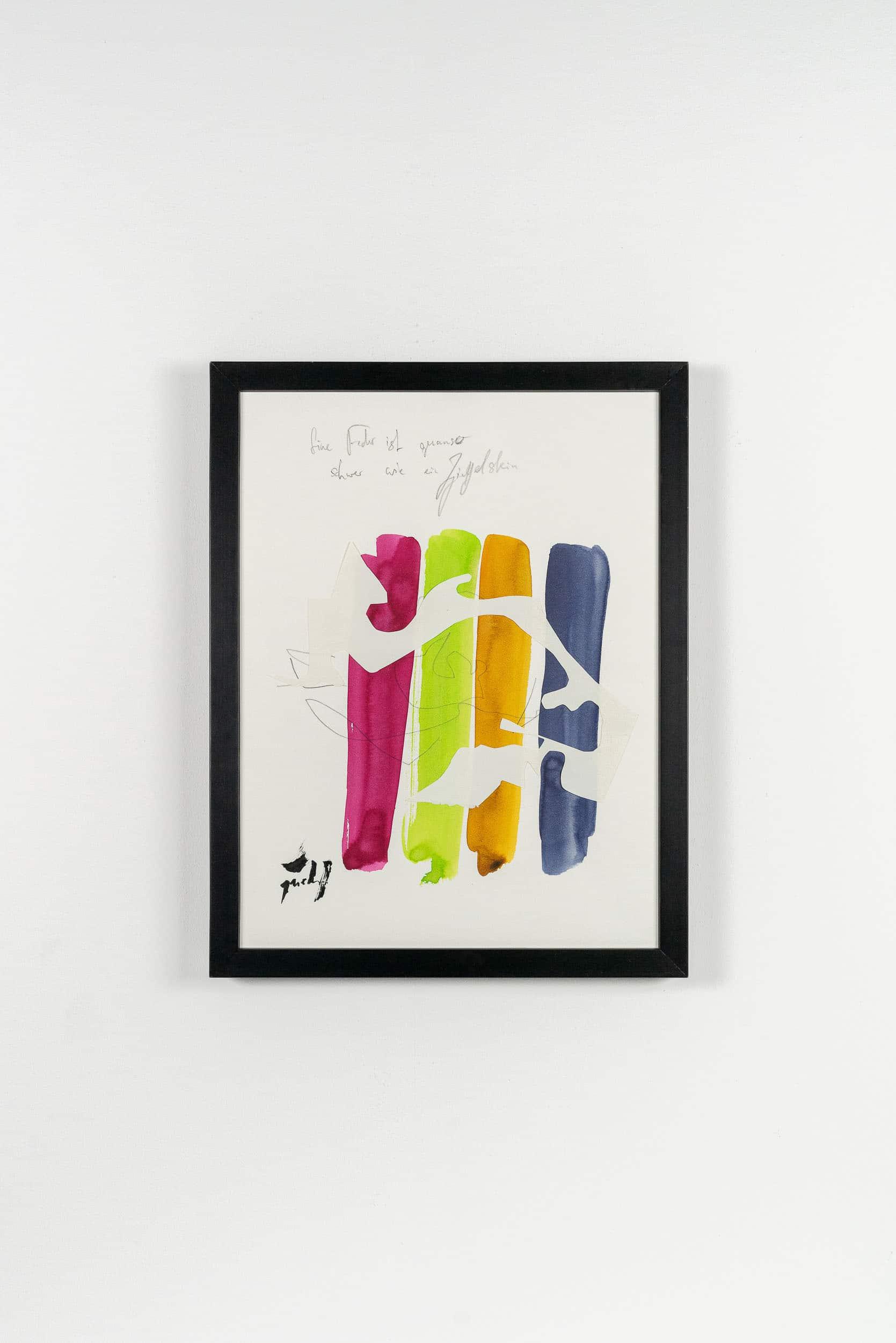 SiL23 Feder und Ziegelstein 30 × 40 cm Tusche / Papier / Graphit / Scherenschnitt / Text 2013 5 Identisch