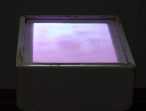 SiL29 Vergraben oder oberflächlich ca. 100 × 40 × 40 cm Knochensplitter / Glas / Papier / Graphit / Leuchtmittel 2013 4 Knochen – Stein – Papier